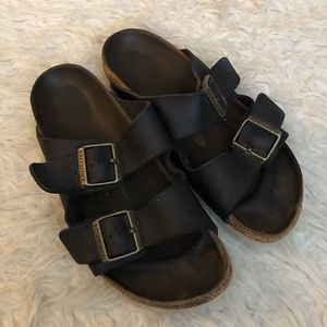Birkenstock Arizona sandals black leather shoes